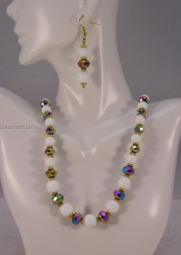 white glass bead & oil slick crystals necklace  earrings set w gold accents OOAK