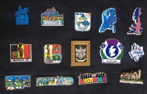 14 Vintage lot European Fridge Magnets - Great Britain, UK, Europe