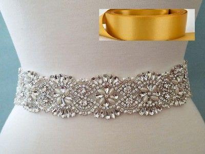 18 INCH LONG Crystal Pearl Wedding Dress Sash Belt = OLD GOLD RIBBON