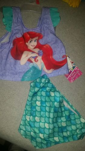 NWT Disney adorable little girls two piece swimming suit size 2T The Little Merm