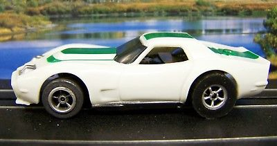 Green AFX Xtras AP Chevy Corvette Racer Ho slot car Xtraction Auto World Chassis