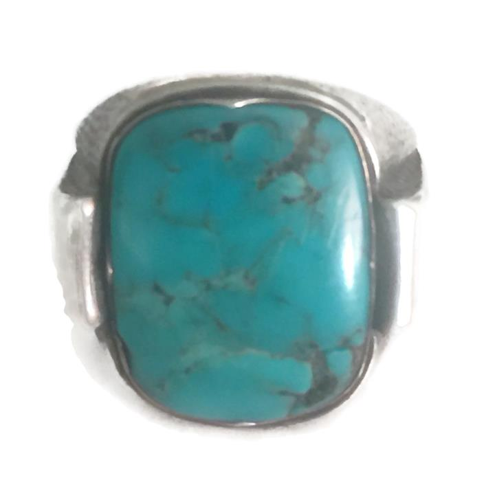 Vintage Sterling Silver Southwest Tribal Turquoise Ring Size 12 15.3g