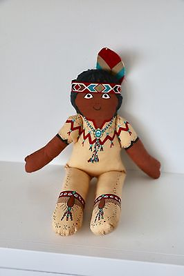 Vintage Plush Native American Indian Boy Doll Indian Removable Clothes