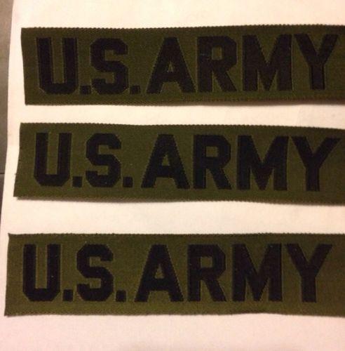 Vintage Korea US ARMY Woven Pocket Tapes Subdued Olive/Black & Black/Gold