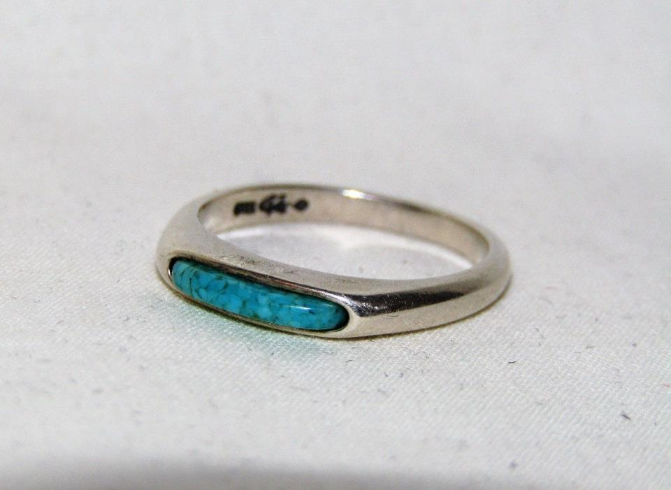 Estate Turquoise Stacking Ring 925 Sterling Silver Ring Sz 6.75