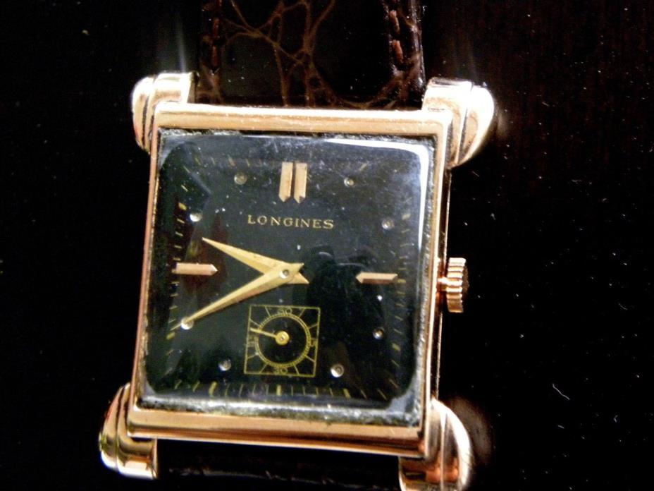 longines 1940's rare 14kt pink gold/rose gold teardrop vintage watch