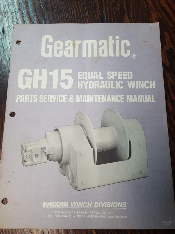 Gearmatic GH15 Equal Speed Hydraulic Winch Parts Service & Maintenance Manual