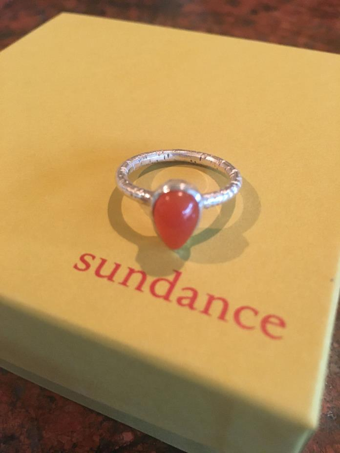 New Sundance Catalog Sun Drop Ring 6.5 Carnelian/Sterling Silver Courage/Memory