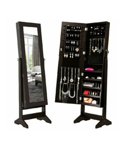 Lockable Jewelry Cabinet Jewelry Armoire with Mirror Jewelry Holder Organizer St