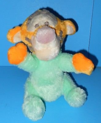 Adorable Cute Cuddly Green Orange Plush Baby Tigger Disney Stuffed Rattle Toy 8
