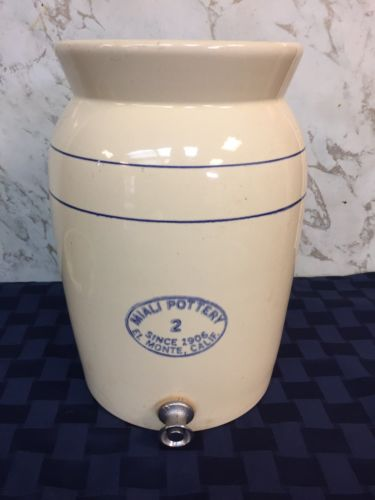 Miali School Pottery Water Cooler Crock with Lid & spigot 2 gal USA Cali 1906