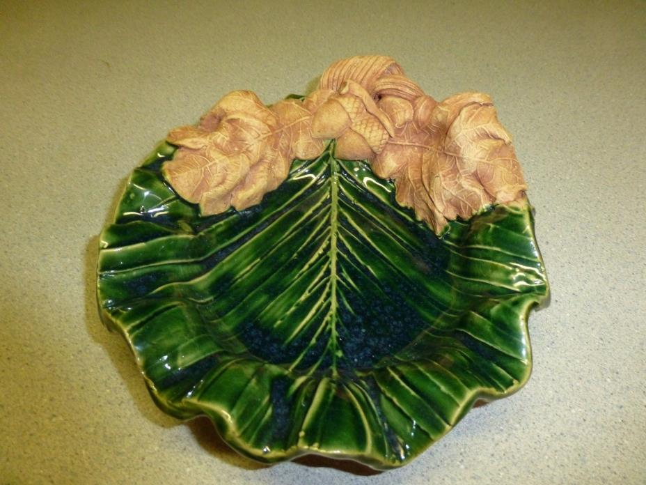 Handmade Studio Pottery, Fall Leaf Dish by Leo and Karin Villeroman, Nice!