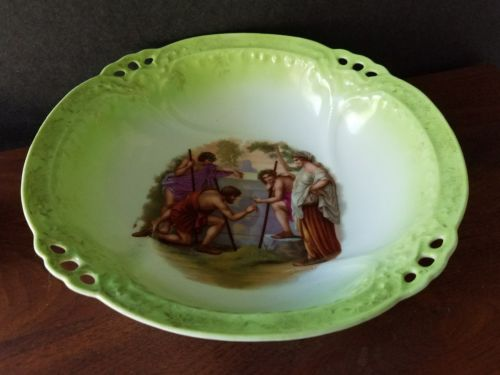 Large Antique Pale Green Ceramic Bowl w/ Painted Hellenic / Biblical Figures