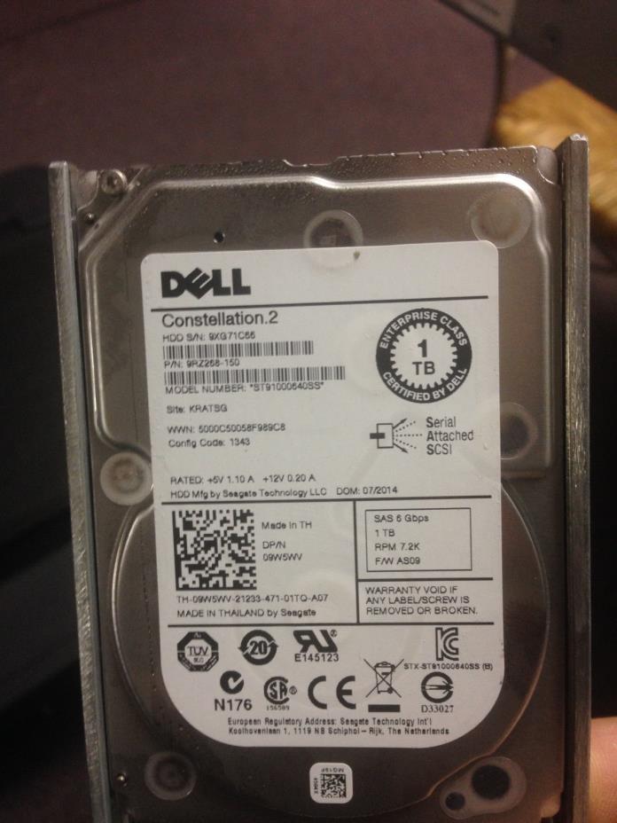 9W5WV Dell Enterprise 1TB 7.2K 6Gb/s SAS 2.5'' Hard drive W/ Tray ST91000640SS