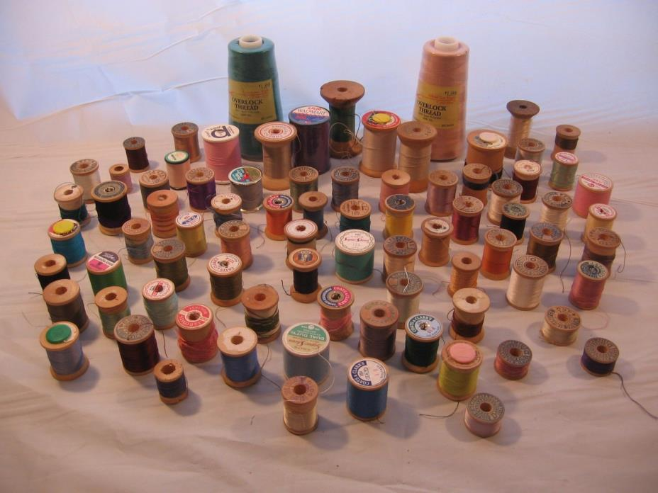 80 ROLLS of THREAD - MANY COLORS AND SIZES - NEW AND USED