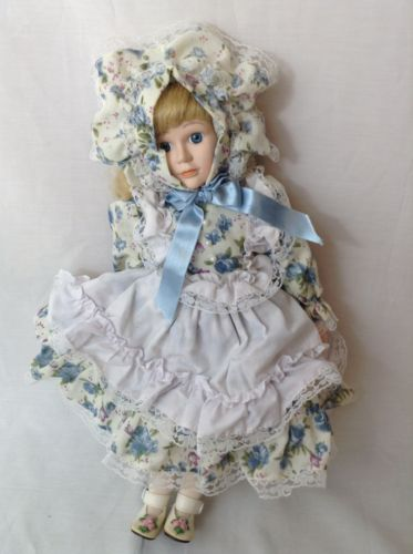 Collectible, Porcelain baby doll, Blue dress, With bonnet, Used
