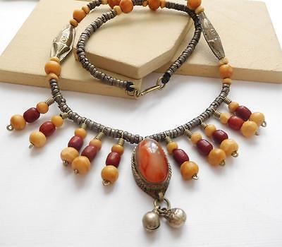 Vintage Tibetan Silver Bell Carnelian Agate Wood Bead Tribal Fringe Necklace I5