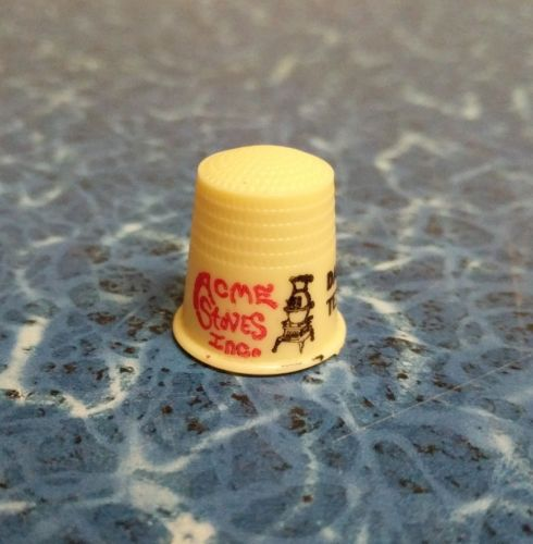Vintage Advertising Plastic Sewing Thimble Acme Stoves Dalton Texas Pot Belly