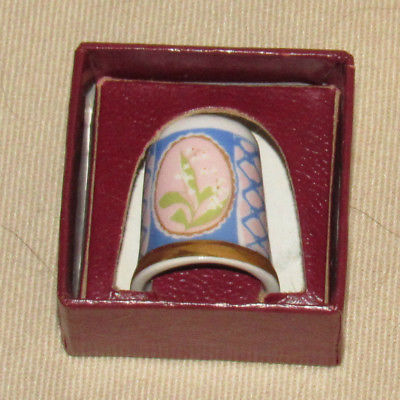 Vintage Caverswall England Bone China Thimble Flower Lily of the Valley EXC