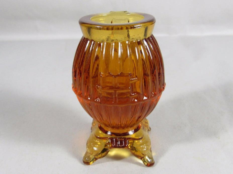 Amber Brown Glass Pot Belly Wood Burning Stove Toothpick #103 Free USA Ship
