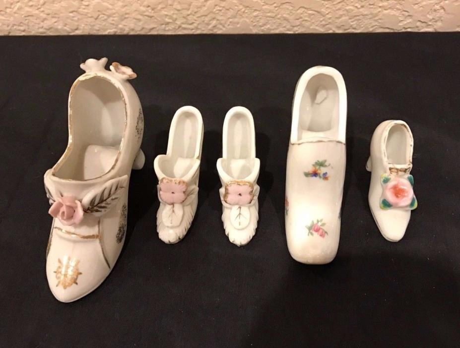 Lot of 5 PORCELAIN Pottery MINIATURE Shoes Vintage Pumps Japan EC