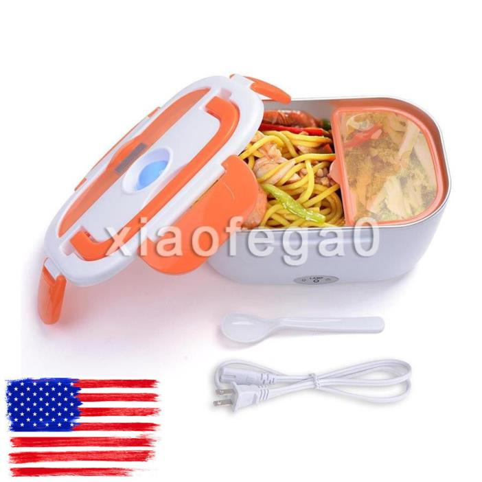 1.5L Portable Electric Heated Lunch Box Food Storage Warmer Container Orange USA