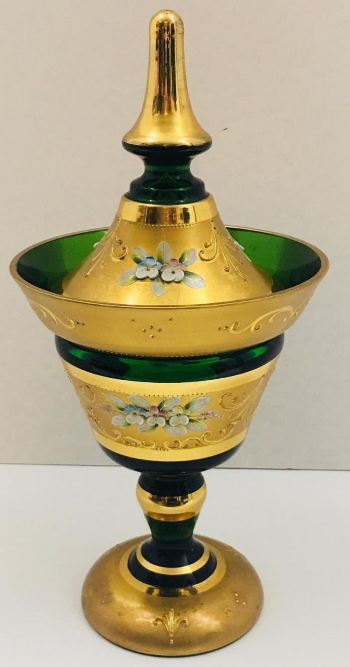 Exceptional Bohemian Czech Emerald Green 24K Gold Enamel Hand Cut Covered Jar