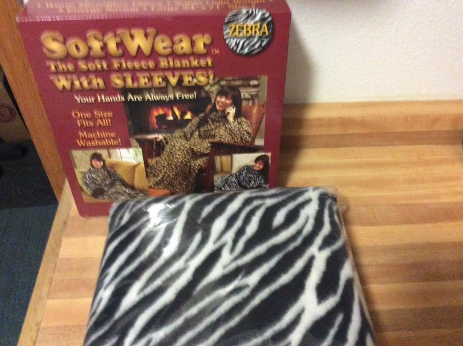 NEW SoftWear The Soft Fleece Blanket With SLEEVES! snuggie ZEBRA Striped - Robe