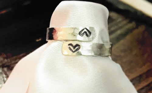 Hand Stamped Aluminum Wrap Ring Personalized Jewelry Double Heart