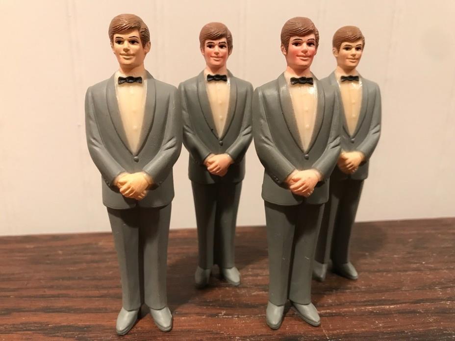 4 Vintage Wedding Groomsmen Groom Gray Tux Cake Topper Decorations Lot# 30
