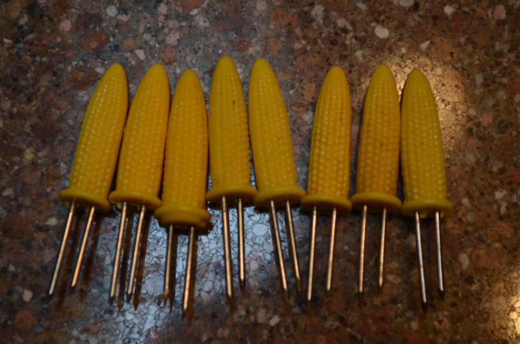 Corn on cob skewers/holders-set of 8-stainless steel prongs