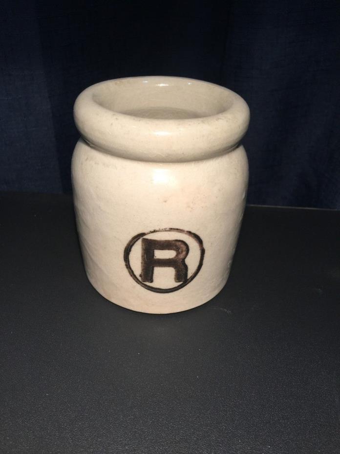 Vintage Small Beige Stoneware Crock