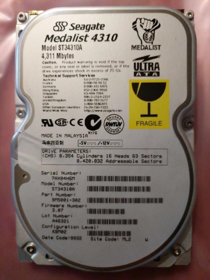 SEAGATE MEDALIST 4319 IDE DRIVE ST34310A 4.3 GB