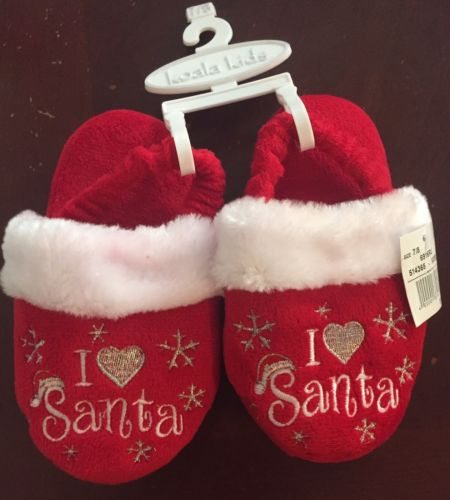 Christmas Slippers Kids I Heart Santa Red Plush 7/8 Toddler Love Silver