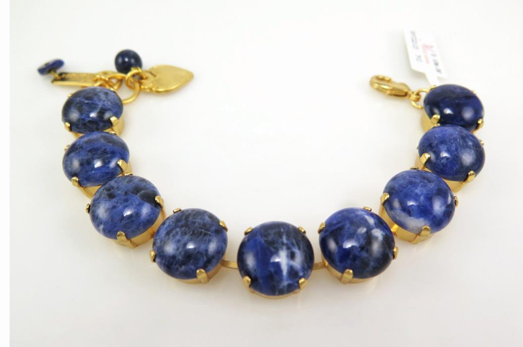 BEAUTIFUL MARIANA GOLD BRACELET X Large Scale 15MM Sodalite Blue Gemstone