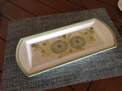 HB Henriot Quimper  Green French Platter Snack Plate Pottery Floral Cracker bx30