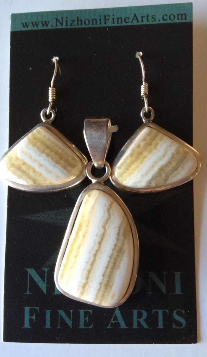 Pendant & Earrings Set Handmade 925 Sterling Silver  With Yellow Lace Agate