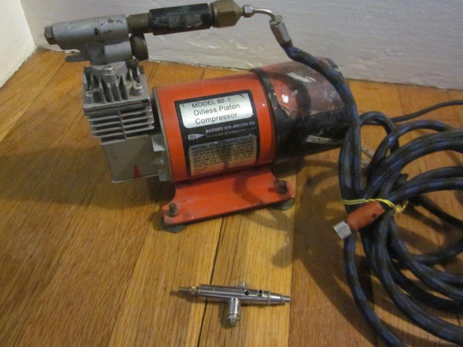 Badger Air Brush Compressor Model 80-1 + Thayer & Chandler Airbrush FreeS&H