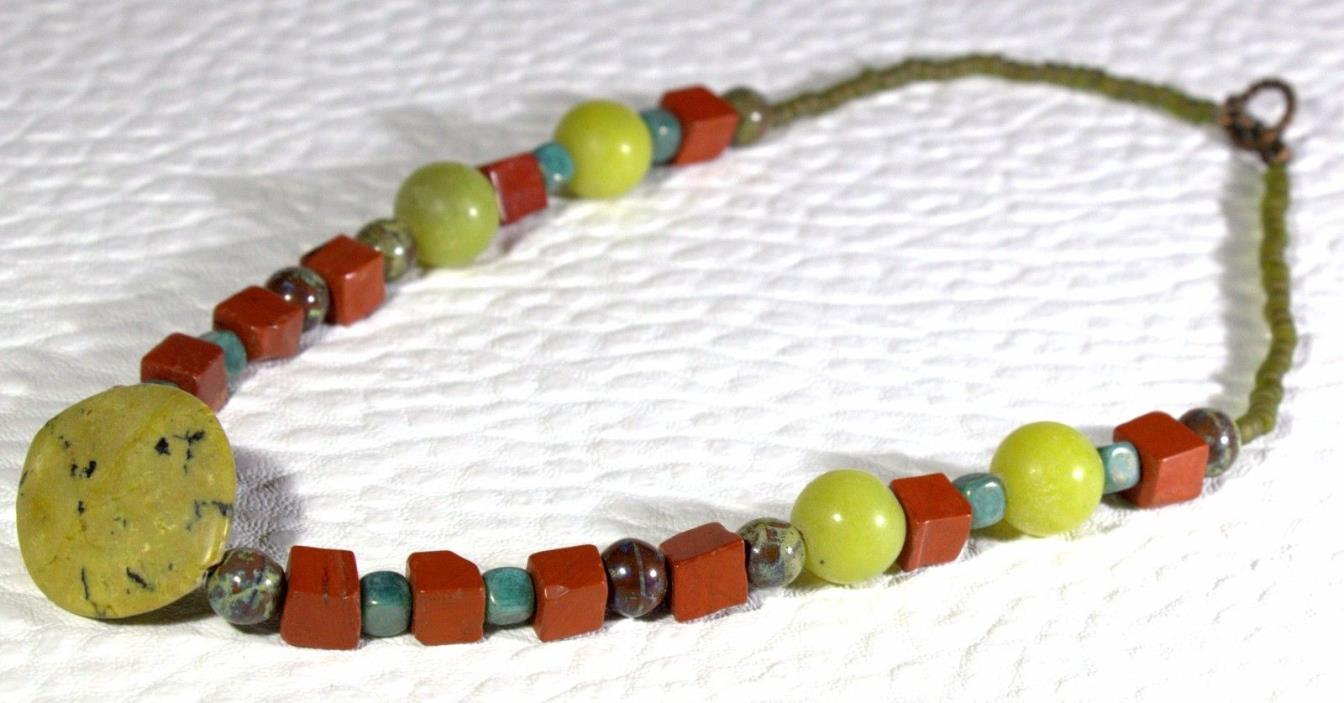 Red Jasper and Green Gemstone beaded 16