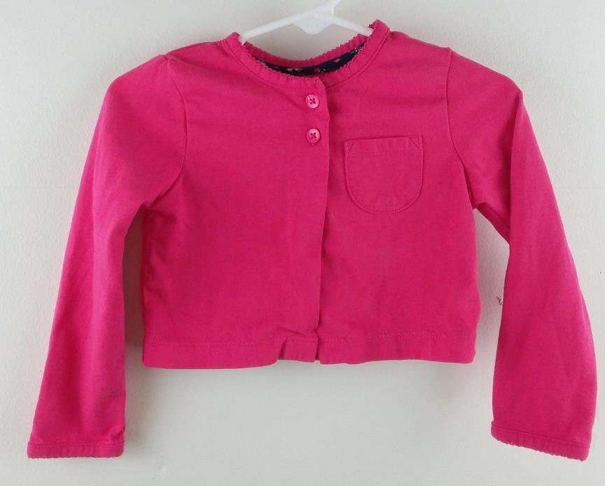 Carter's Size 24 Months Girls Toddler Cardigan Sweater Fuchsia Pink Long Sleeve