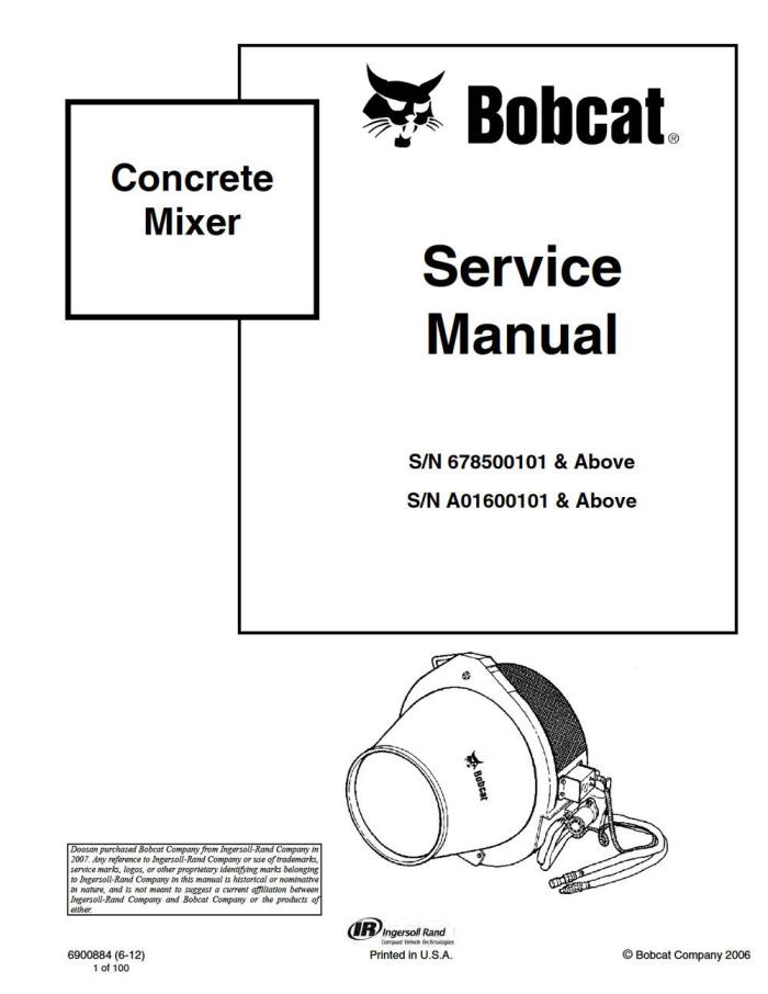 New Bobcat Concrete Mixer Repair Service Manual 6900884 Free Shipping