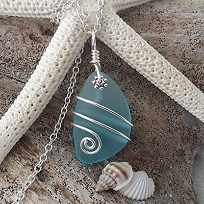 Pendants Handmade In Hawaii, Wire Wrapped Turquoise Bay Blue Sea Glass Necklace,