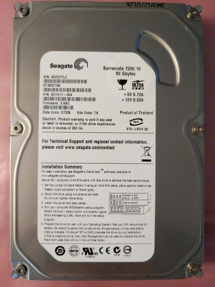 Seagate Barracuda IDE 80GB 7200.10 Hard Drive ST380215A