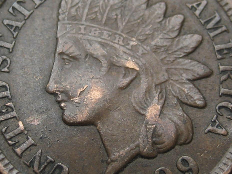 1899 Indian Head Cent Penny, XF Details, LIBERTY, Diamonds