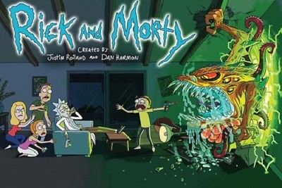 CARTOON NETWORK ADULT SWIM RICK AND MORTY FAMILY ROOM POSTER 36x24 NEW