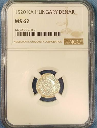 1520 KA Hungary Denar NGC MS62 - Beautiful High Grade Coin - Madonna and Child