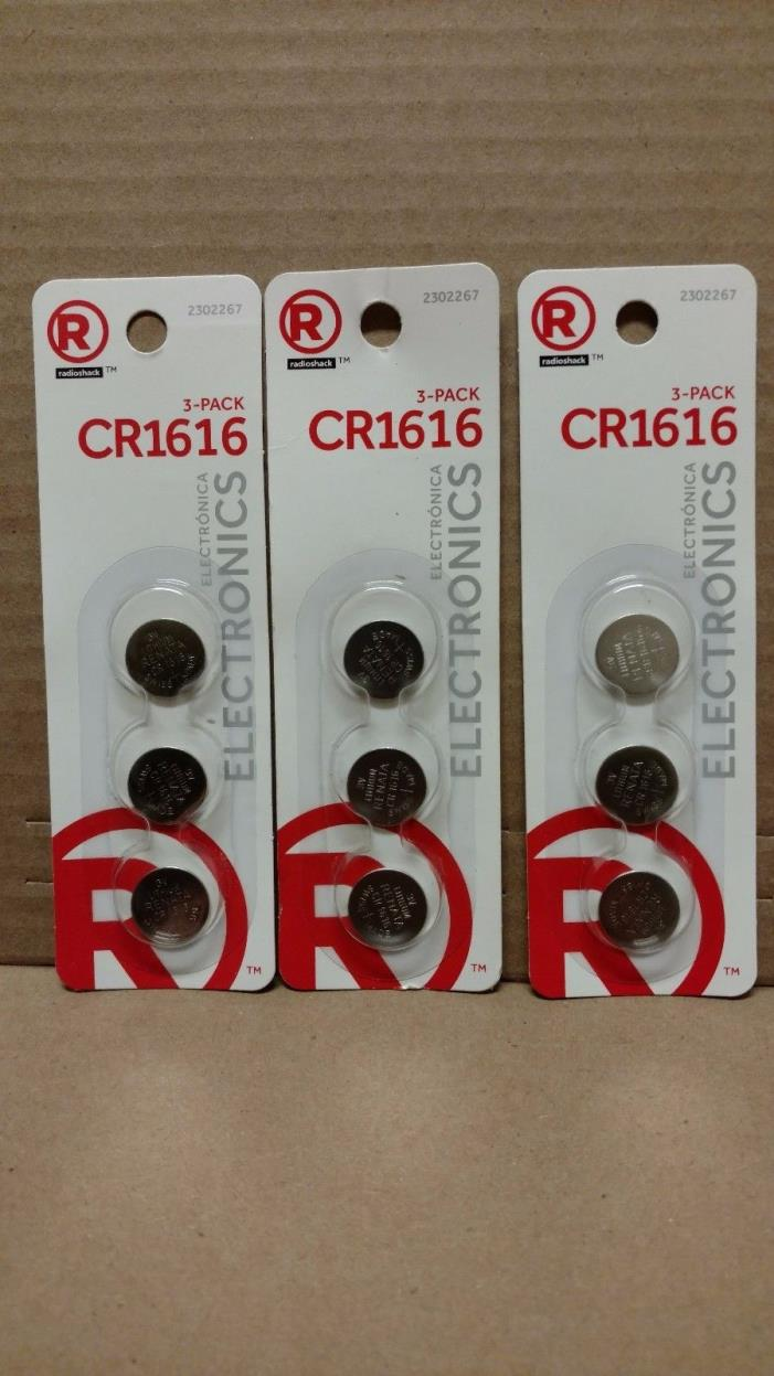 RADIO SHACK 2302267 (lot-of-3) 3-PACK #CR1616  WATCH BATTERY 9-TOTAL