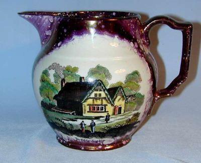 Antique Luster Pyrple Spatter Pitcher Old Castle England Porcelain