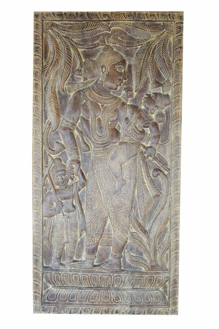 Vintage Door PANEL HandCarved Maa Yasoda Krishna Balram INDIA Art Wall Sculpture