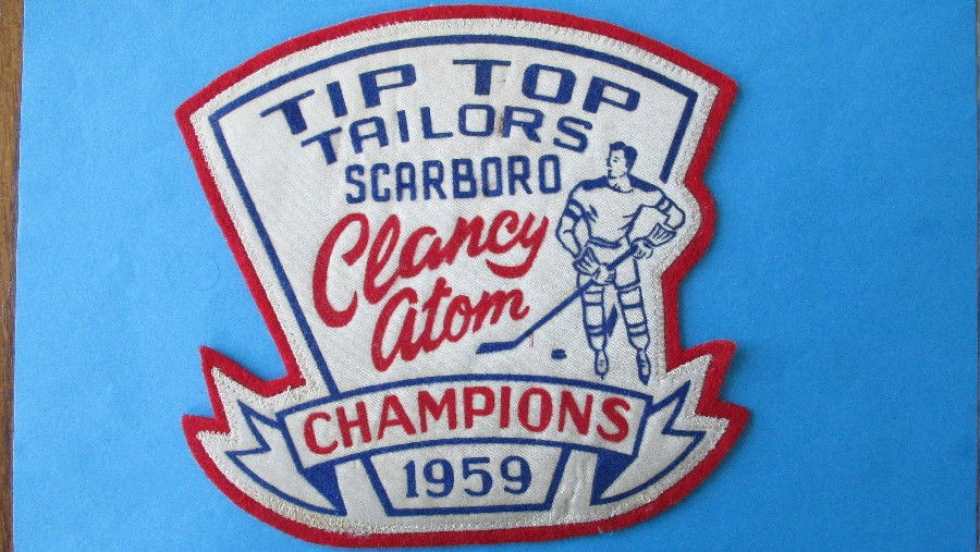 1959 CHAMPIONS Scarboro CLANCY Atom Hockey JERSEY PATCH Tip Top Tailor Brad Park